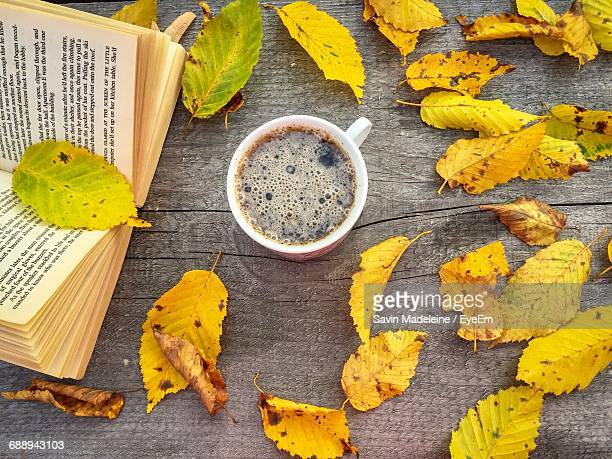 Directly Above Shot Of Coffee And Book With Autumn Leaves On Wooden Table