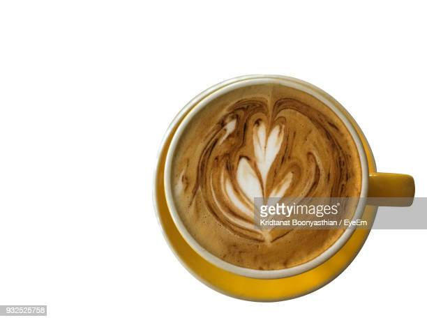 Directly Above Shot Of Coffee Cup Against White Background
