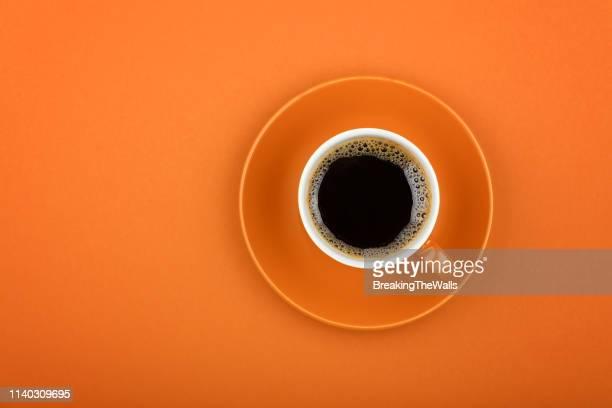 directly above shot of coffee cup - koffiekop stockfoto's en -beelden
