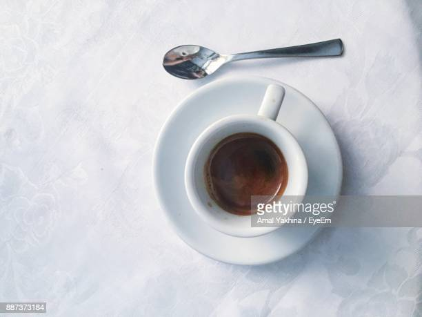directly above shot of coffee on table - espresso stock photos and pictures