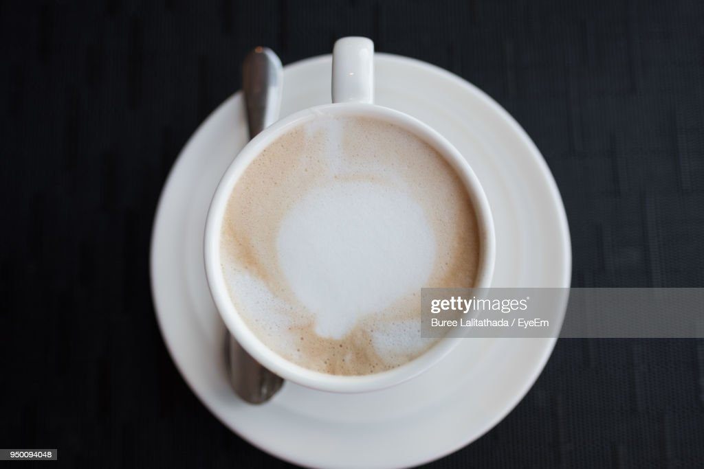 Directly Above Shot Of Coffee On Table : Stock Photo