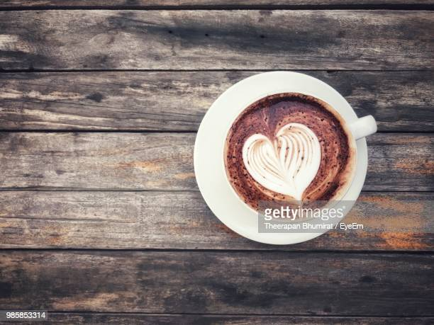 directly above shot of coffee on table - mocha stock photos and pictures