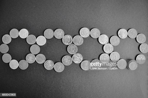 Directly Above Shot Of Coins On Table