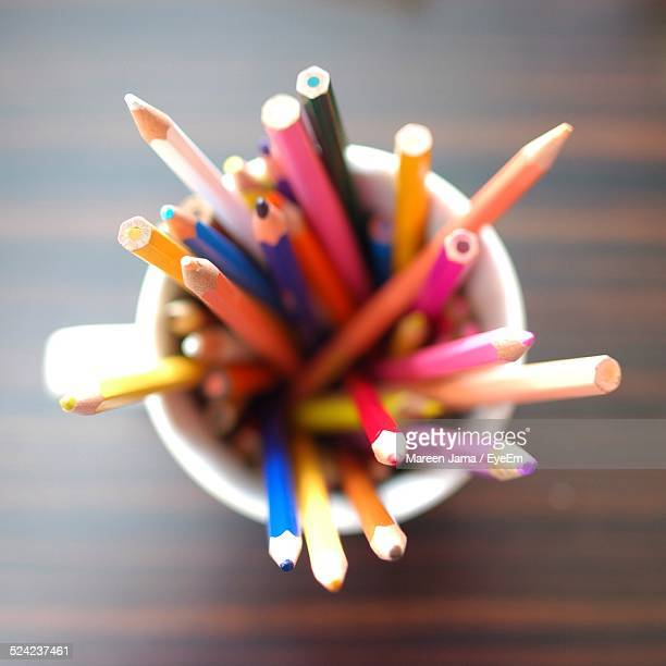 directly above shot of colored pencils in container - eyeem collection stock photos and pictures