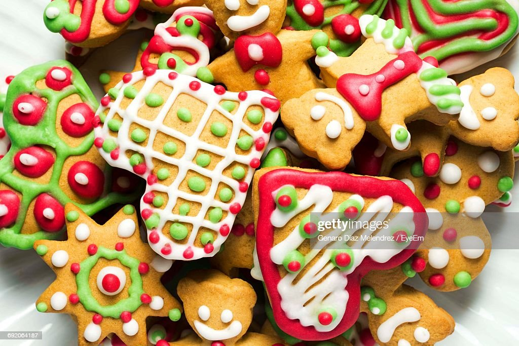 Directly Above Shot Of Colorful Christmas Cookies In Plate Stock