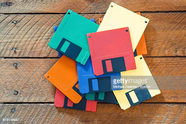 Directly Above Shot Of Colorful Floppy Disks On Table