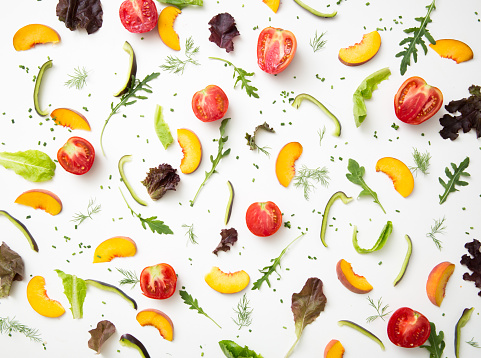 Directly Above Shot Of Colorful Food On Table - gettyimageskorea