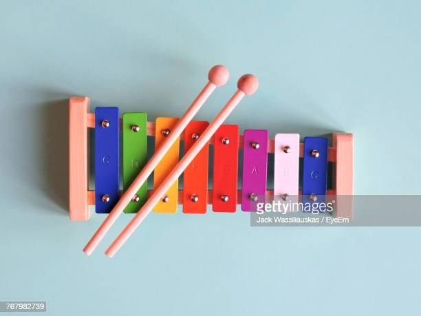 Directly Above Shot Of Colorful Musical Instrument On Blue Table