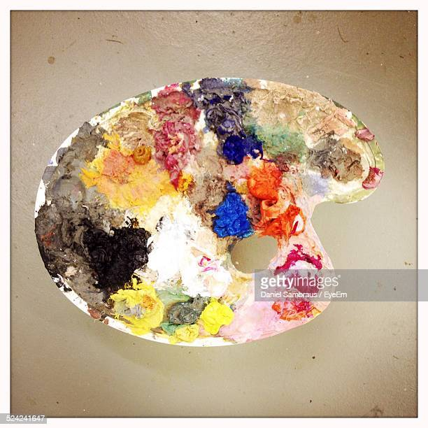 Directly Above Shot of Colorful Palette Against Beige Background