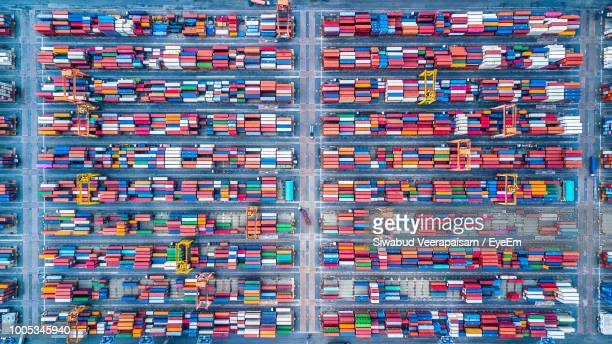 directly above shot of commercial dock - cargo container stock pictures, royalty-free photos & images