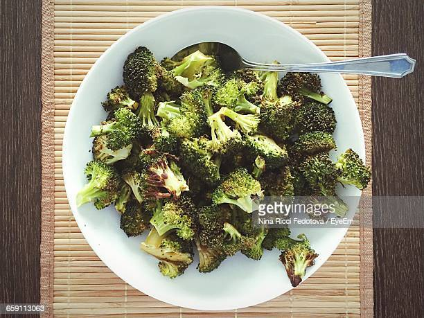 Directly Above Shot Of Cooked Broccolis In Plate On Table