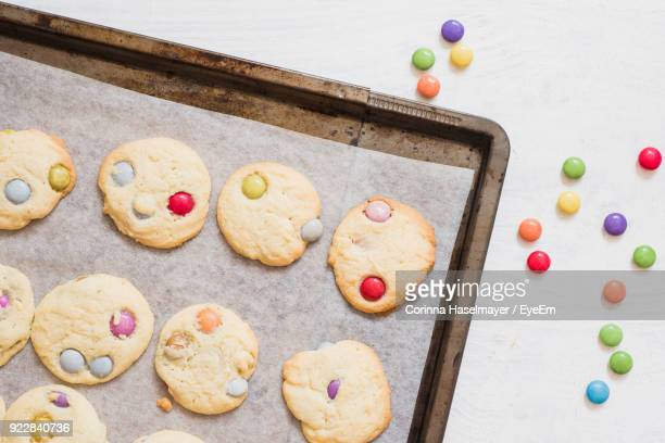 Directly Above Shot Of Cookies And Candies On Table