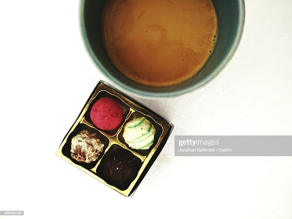 Directly Above Shot Of Cookies And Coffee On Table : Stock Photo