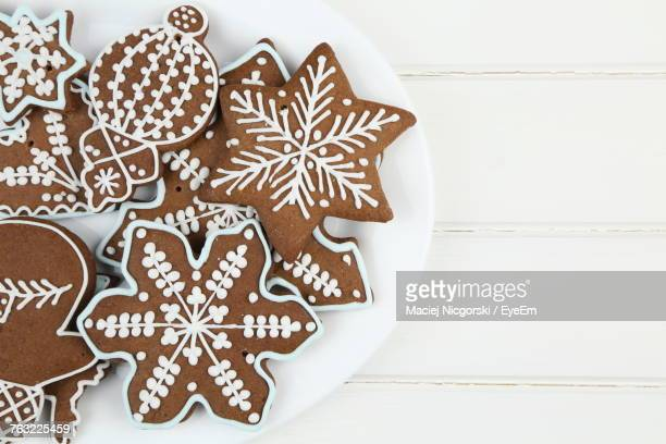 Directly Above Shot Of Cookies In Plate On Table