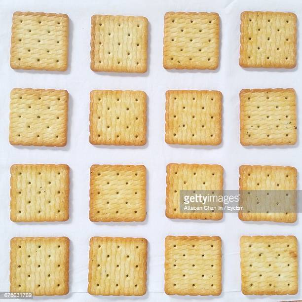Directly Above Shot Of Crackers Arranged Against White Background