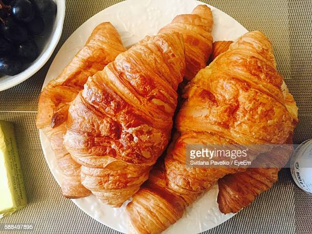 Directly Above Shot Of Croissants On Plate