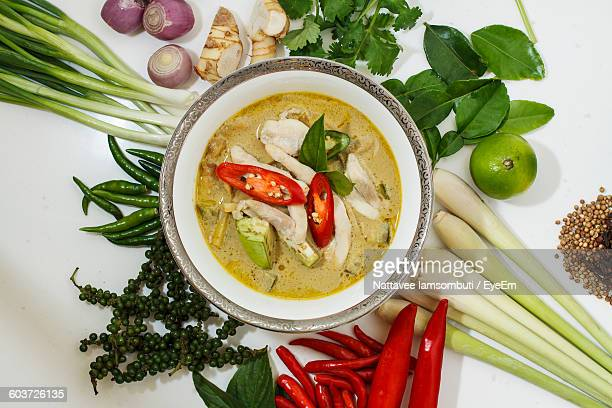 Directly Above Shot Of Curry With Ingredients On Table