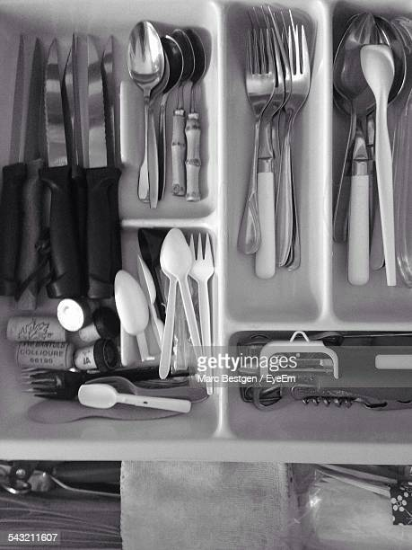 Directly Above Shot Of Cutlery Arranged In Drawer
