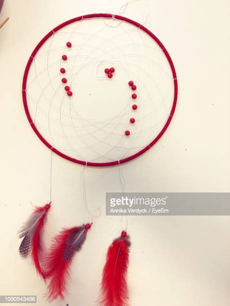 Directly Above Shot Of Dreamcatcher On White Table