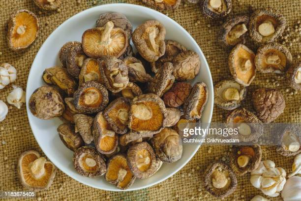 directly above shot of dried shiitake mushrooms - shiitake mushroom stock pictures, royalty-free photos & images
