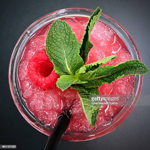 directly above shot of drink on table - garnish stock pictures, royalty-free photos & images