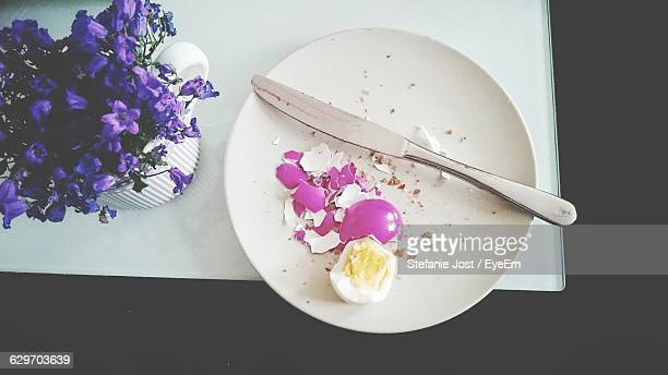 Directly Above Shot Of Egg In Plate On Table