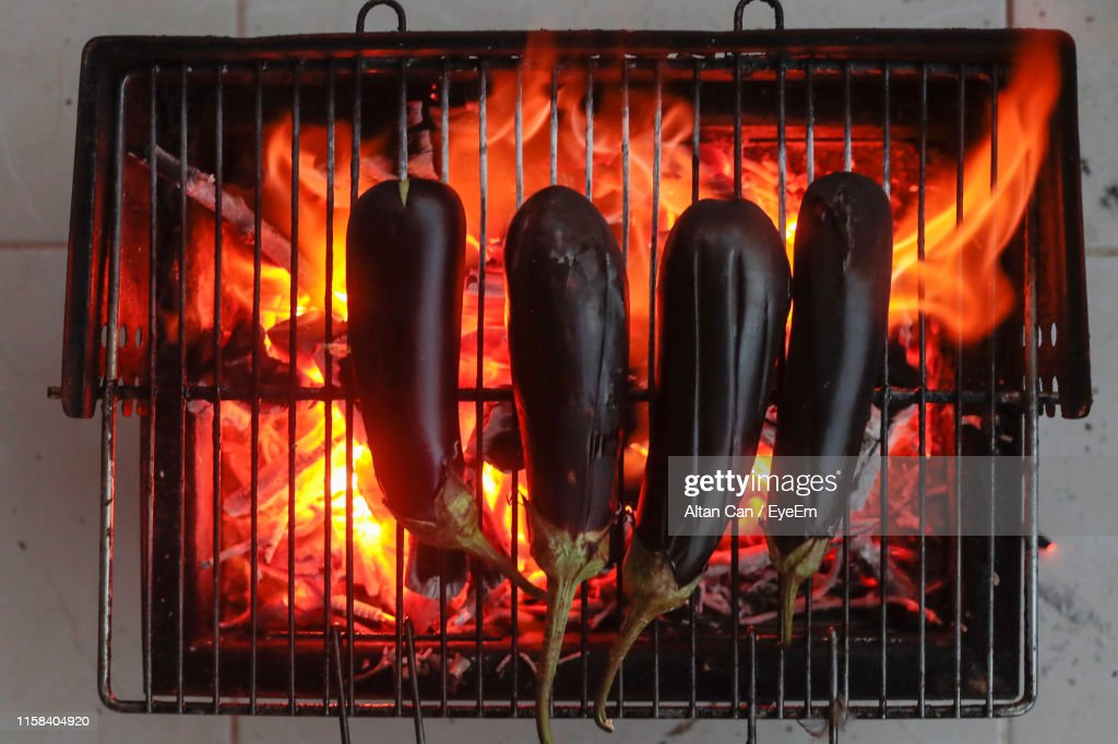 Picture of: Directly Above Shot Of Eggplants On Barbecue Grill High Res Stock Photo Getty Images