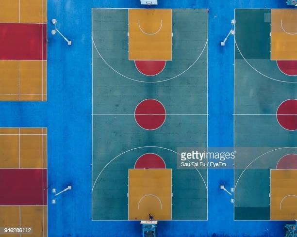 Directly Above Shot Of Empty Basketball Court