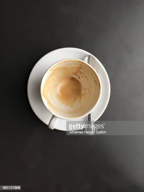 directly above shot of empty coffee cup on table - coffee cup stock pictures, royalty-free photos & images