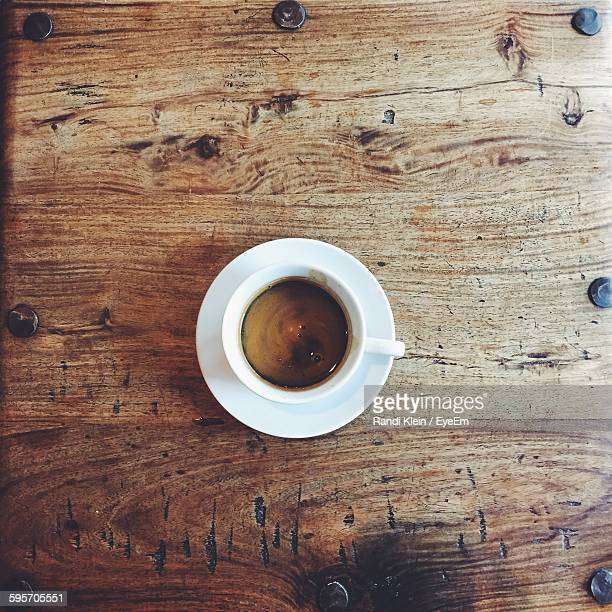 directly above shot of espresso coffee on table - espresso stock photos and pictures