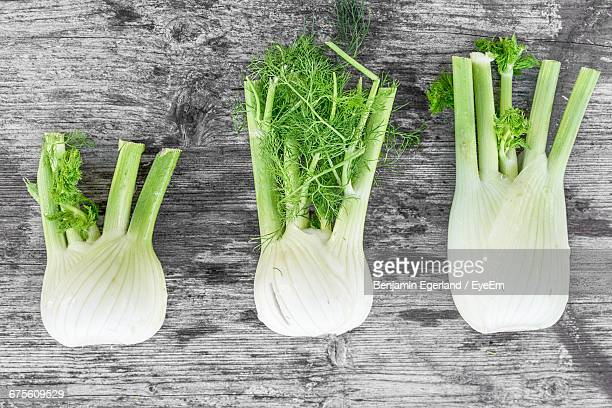 Directly Above Shot Of Fennel Bulbs On Wooden Table