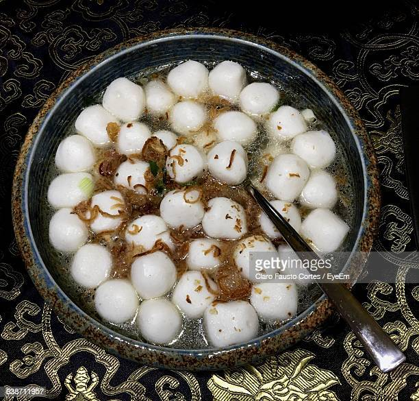 Directly Above Shot Of Fishball Soup
