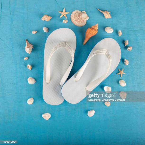 directly above shot of flip-flops and seashells on blue table - ビーチサンダル ストックフォトと画像
