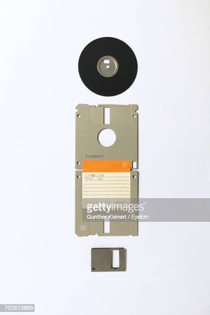 Directly Above Shot Of Floppy Disk On White Background