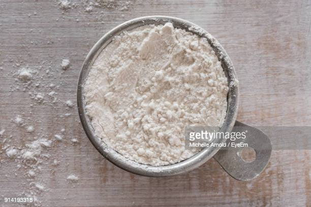 Directly Above Shot Of Flour In Bowl On Table
