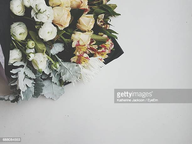 Directly Above Shot Of Flower Bouquet On White Background