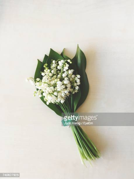 Directly Above Shot Of Flower Bouquet On White Table