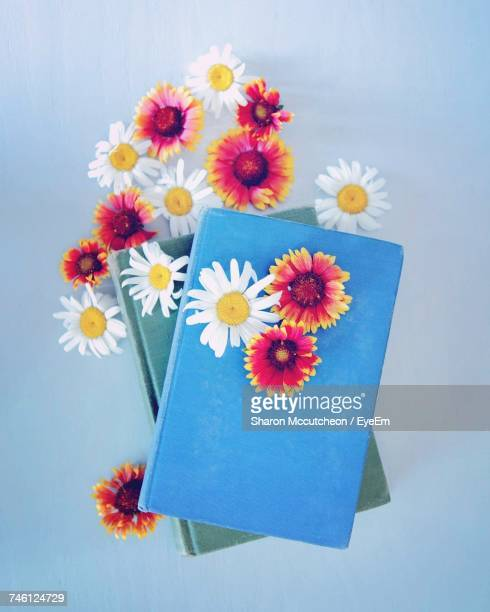 Directly Above Shot Of Flowers With Colorful Notebooks Over Blue Background
