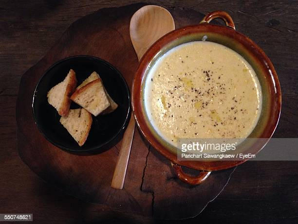 Directly Above Shot Of Fondue With Bread Slices