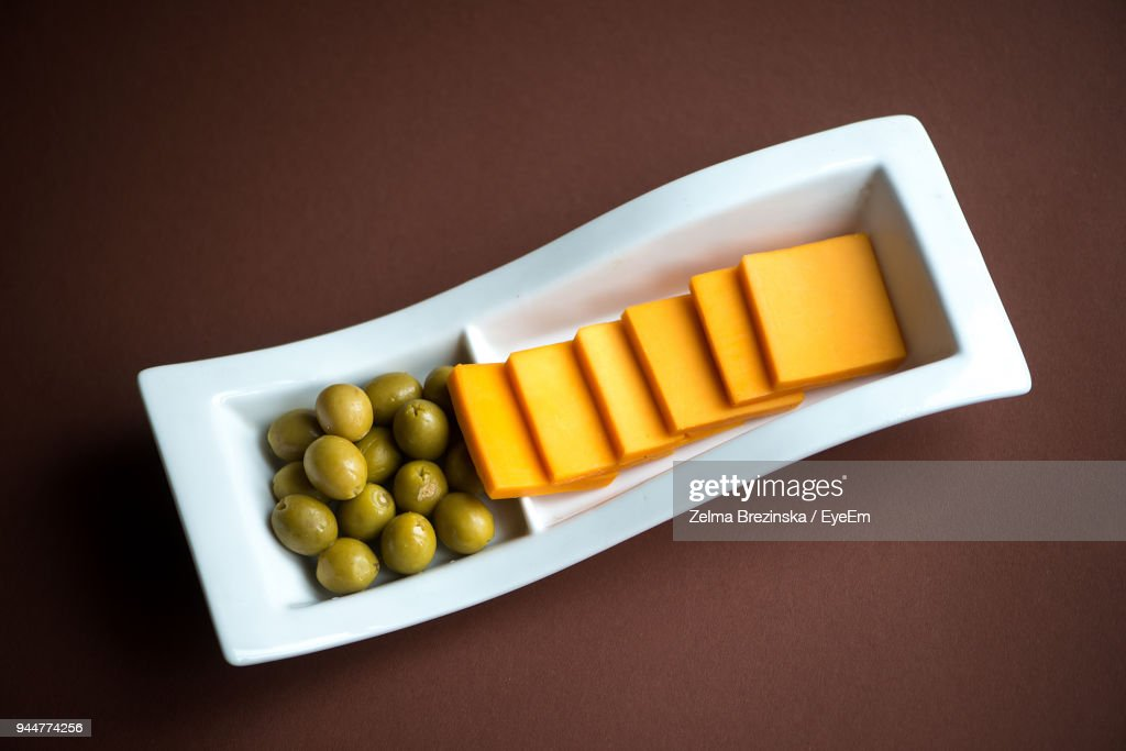 Directly Above Shot Of Food In Bowl On Table : Stock Photo