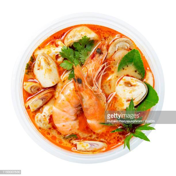 directly above shot of food in bowl on white background - thai food stock pictures, royalty-free photos & images