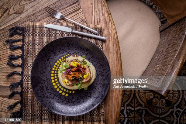 directly above shot of food in plate on table - greek food stock pictures, royalty-free photos & images