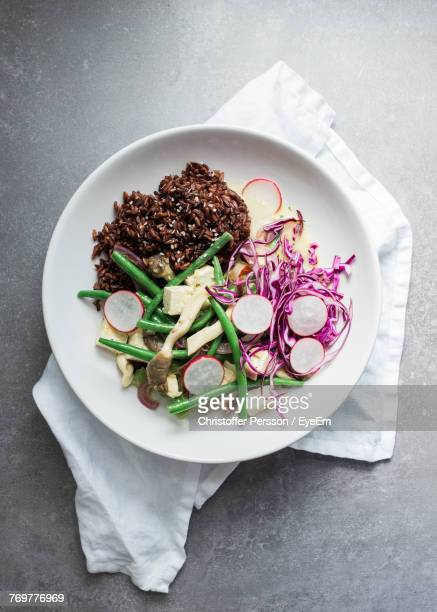 directly above shot of food in plate on table - bush bean stock photos and pictures