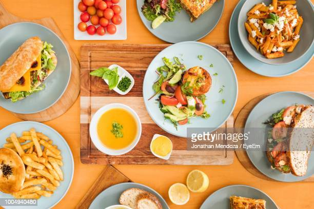 Directly Above Shot Of Food In Plates On Table