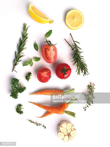 Directly Above Shot Of Food Ingredients On White Background