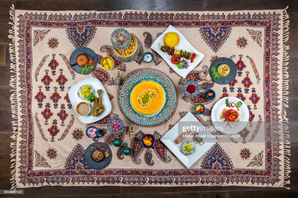 Directly Above Shot Of Food On Rug : Stock Photo
