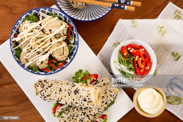 directly above shot of food on table - mayonnaise stock pictures, royalty-free photos & images