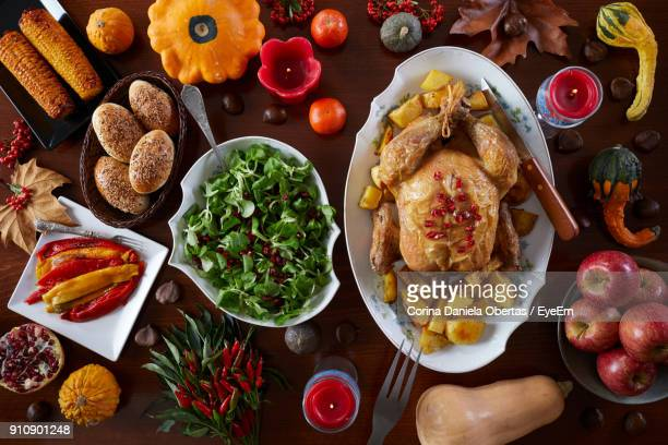 directly above shot of food on table - thanksgiving table stock photos and pictures