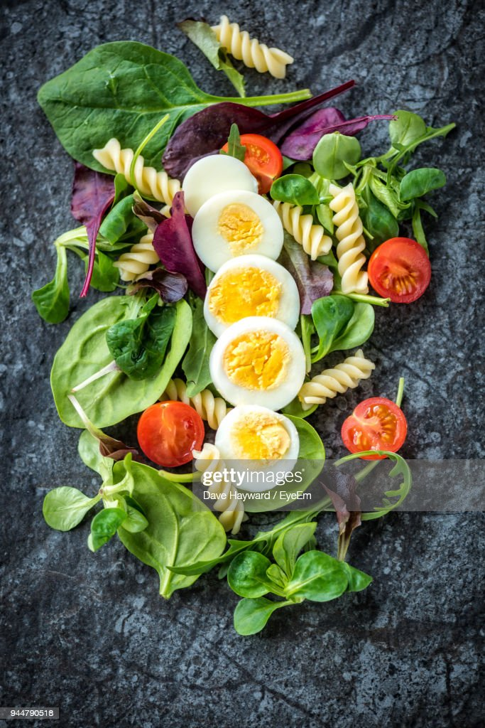 Directly Above Shot Of Food On Table : Stock Photo