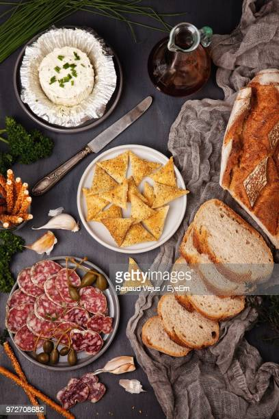directly above shot of food on table - aperitif stock photos and pictures